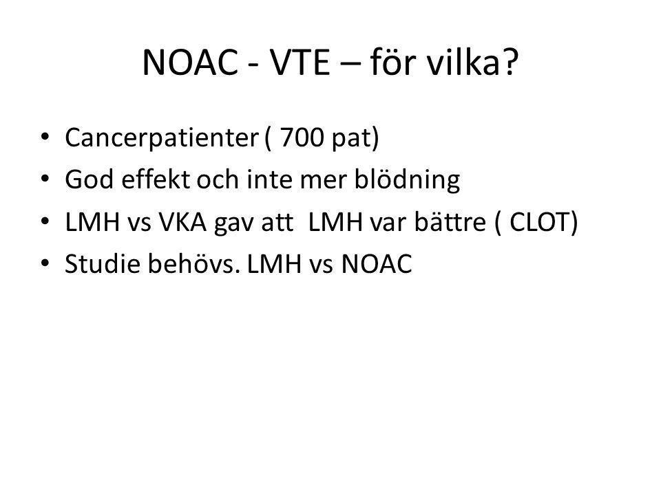 NOAC - VTE – för vilka Cancerpatienter ( 700 pat)