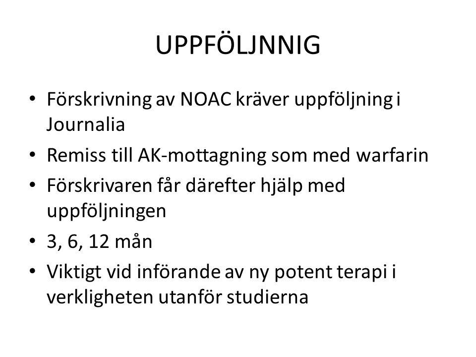 UPPFÖLJNNIG Förskrivning av NOAC kräver uppföljning i Journalia