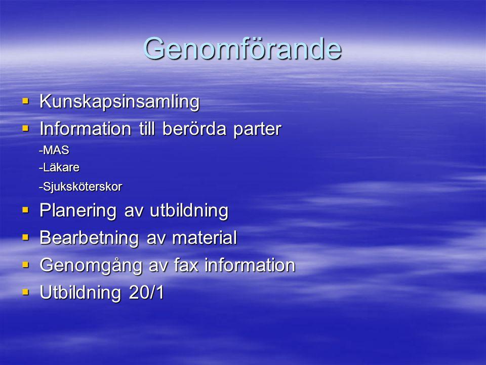 Genomförande Kunskapsinsamling Information till berörda parter