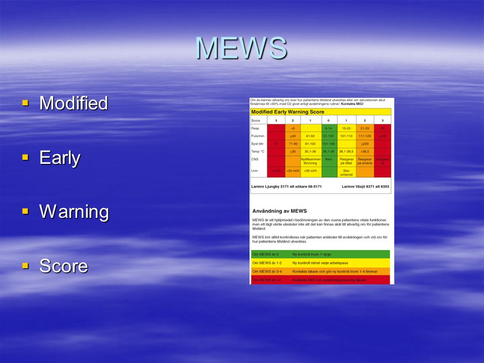 MEWS Modified Early Warning Score