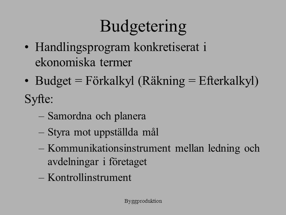 Budgetering Handlingsprogram konkretiserat i ekonomiska termer