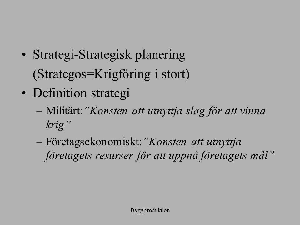 Strategi-Strategisk planering (Strategos=Krigföring i stort)