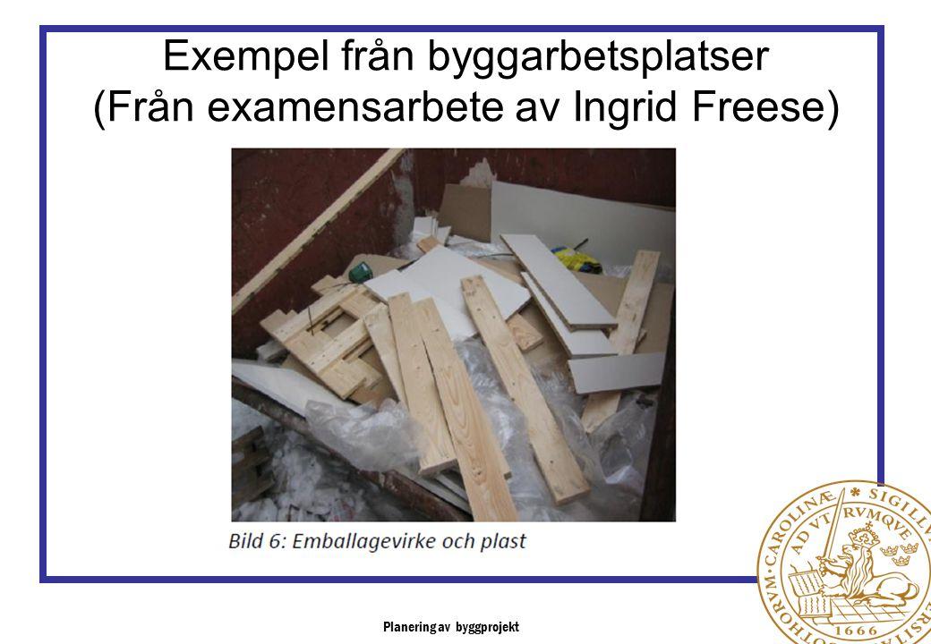 Exempel från byggarbetsplatser (Från examensarbete av Ingrid Freese)