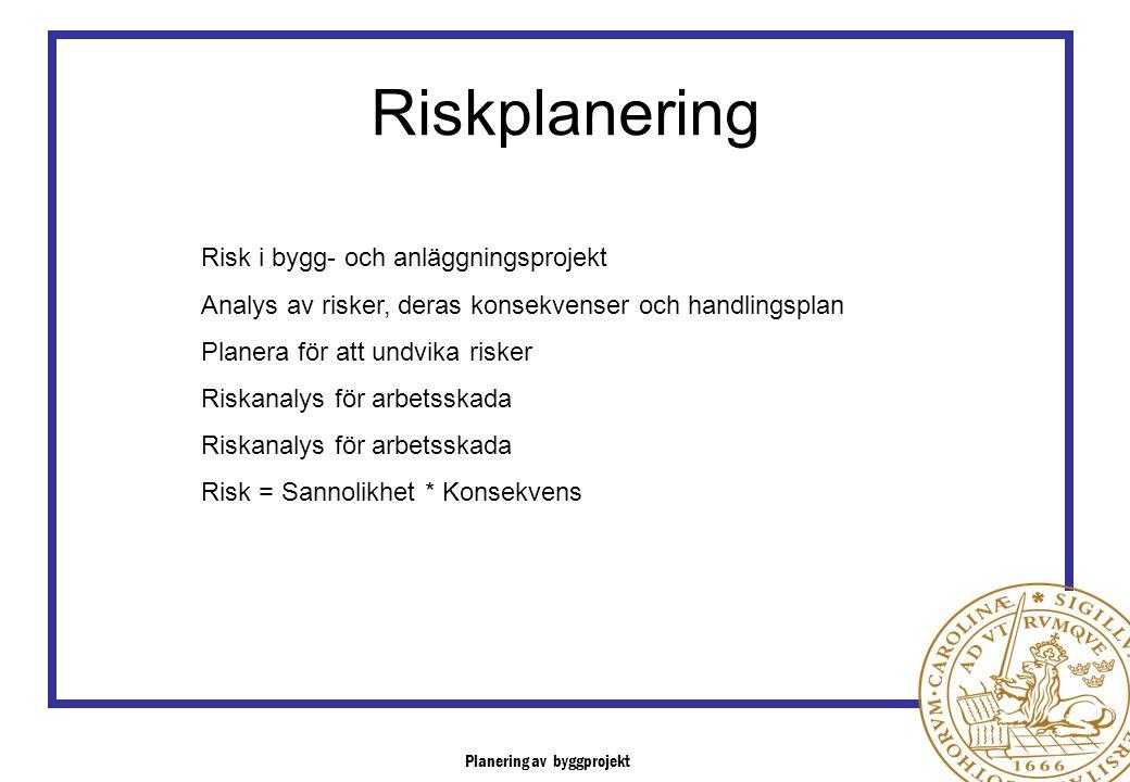 Risk i bygg- och anläggningsprojekt