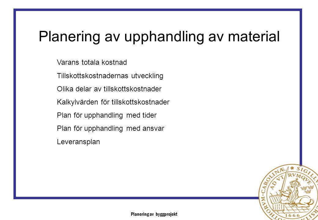 Planering av upphandling av material