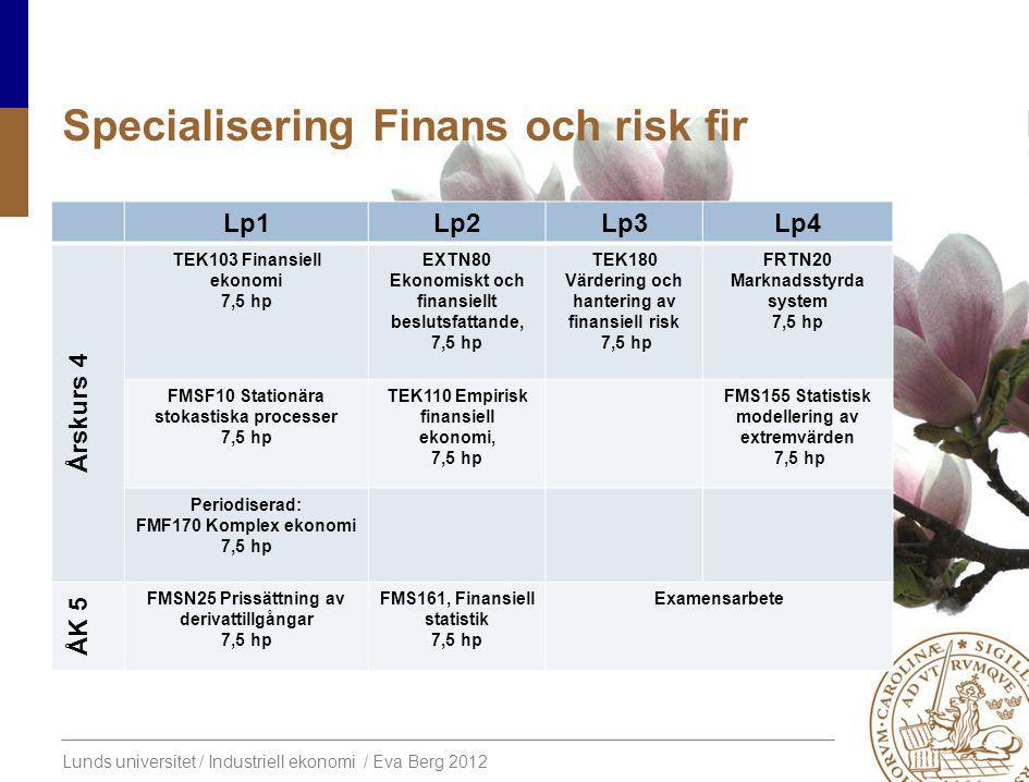 Specialisering Finans och risk fir