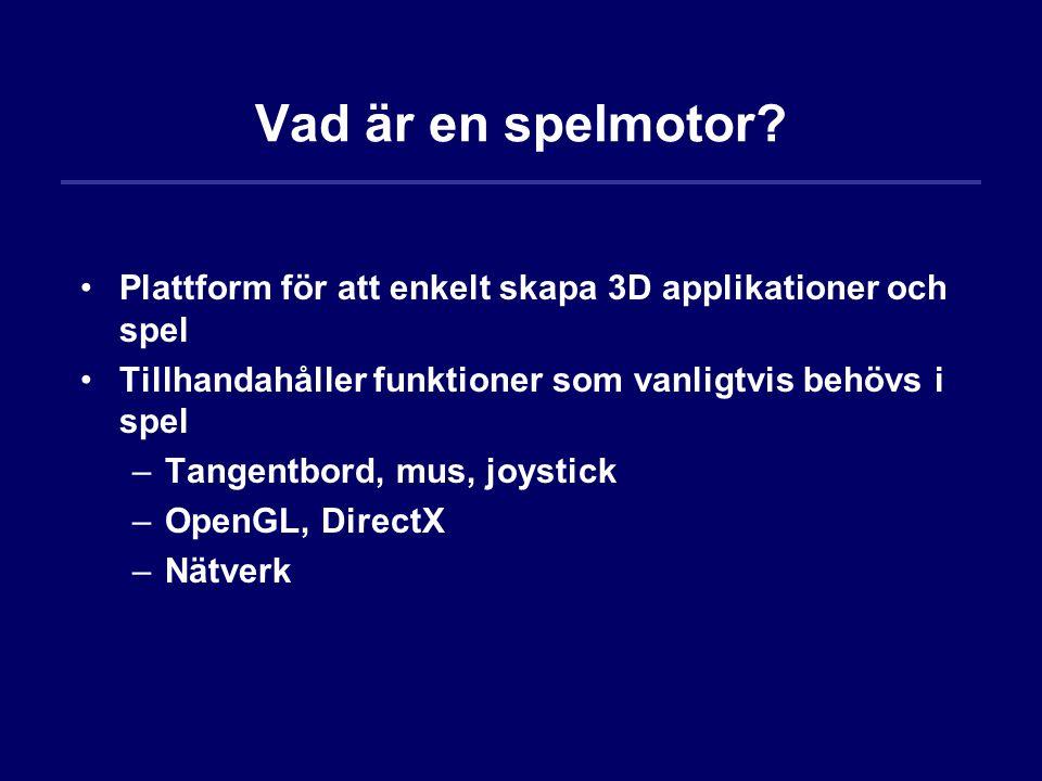 Vad är en spelmotor Plattform för att enkelt skapa 3D applikationer och spel. Tillhandahåller funktioner som vanligtvis behövs i spel.