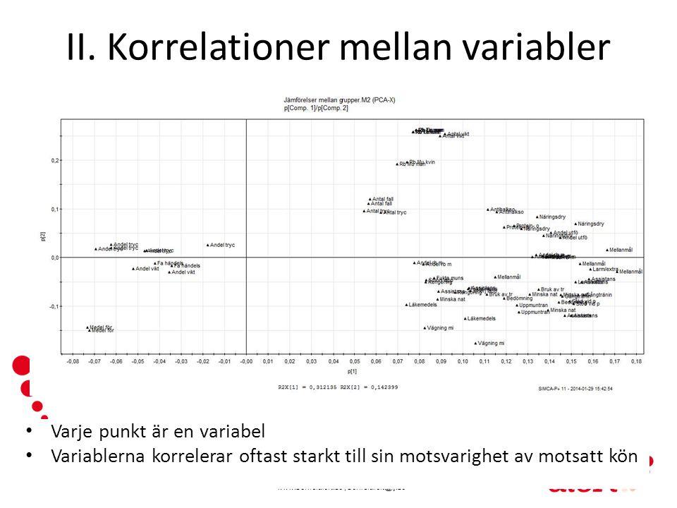 II. Korrelationer mellan variabler