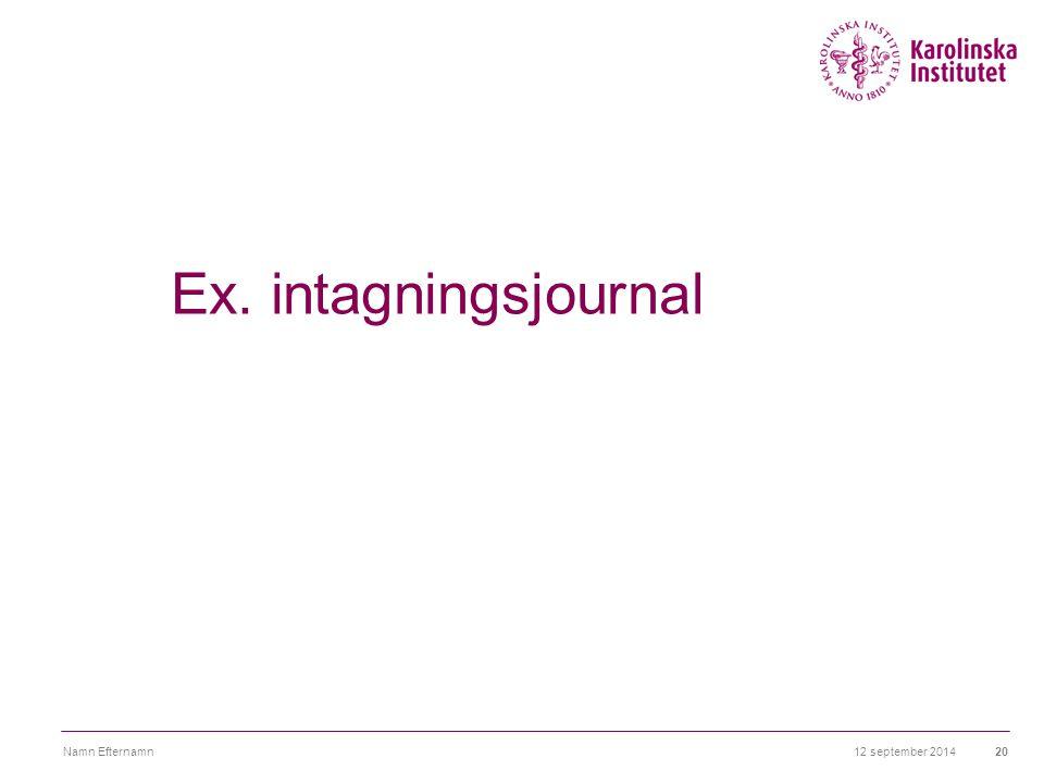Ex. intagningsjournal Namn Efternamn 6 april 2017