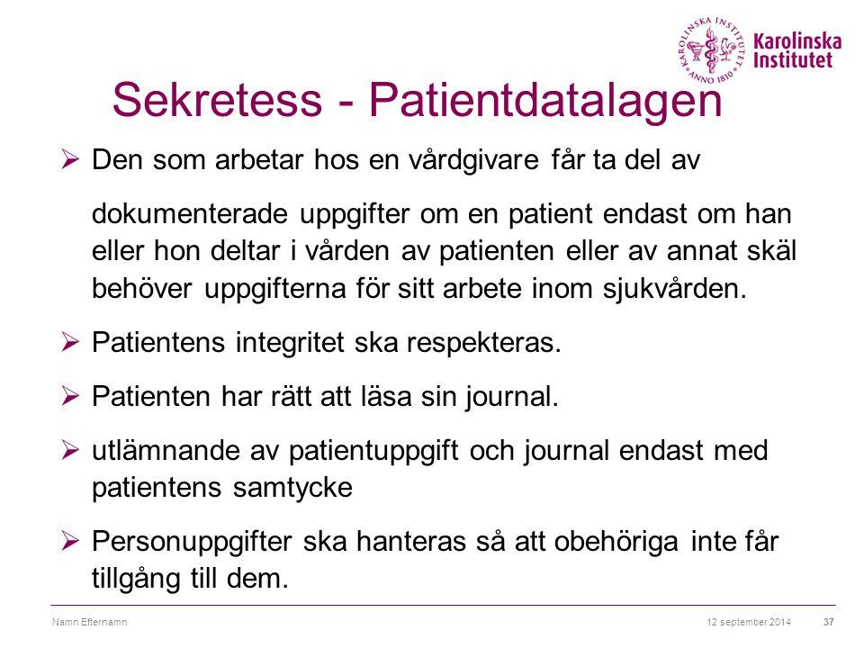 Sekretess - Patientdatalagen