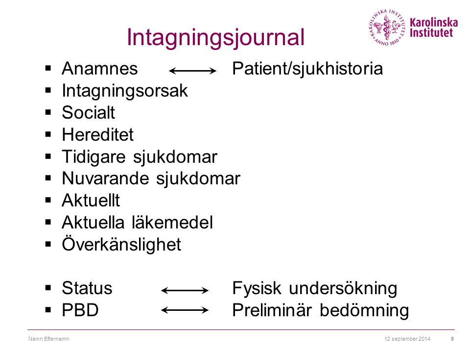 Intagningsjournal Anamnes Patient/sjukhistoria Intagningsorsak Socialt