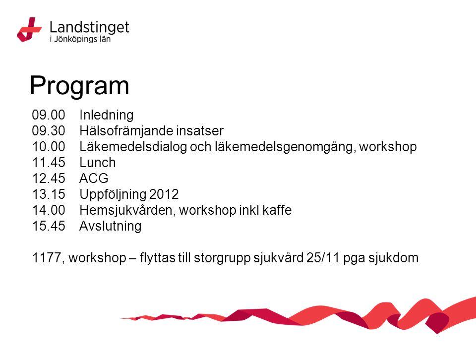 Program 09.00 Inledning 09.30 Hälsofrämjande insatser