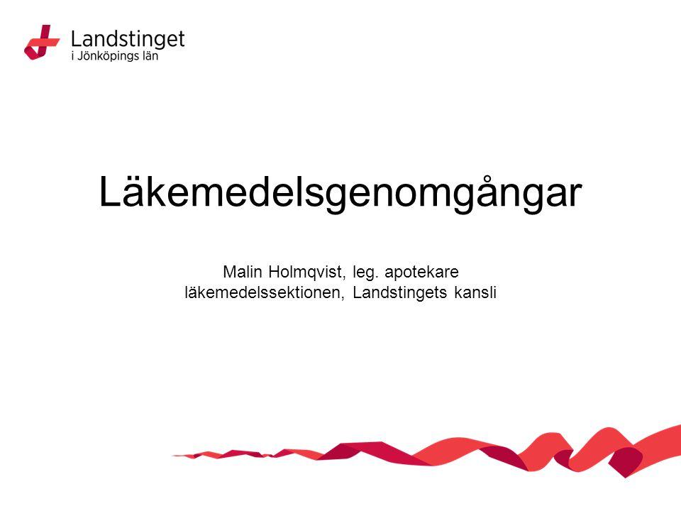 Läkemedelsgenomgångar Malin Holmqvist, leg