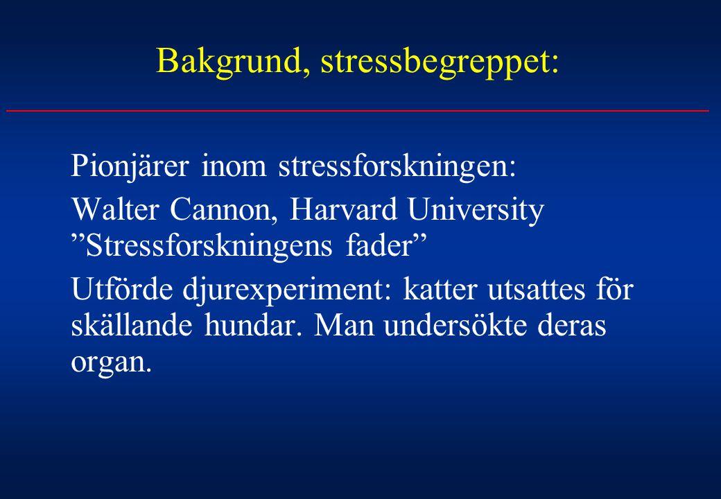 Bakgrund, stressbegreppet: