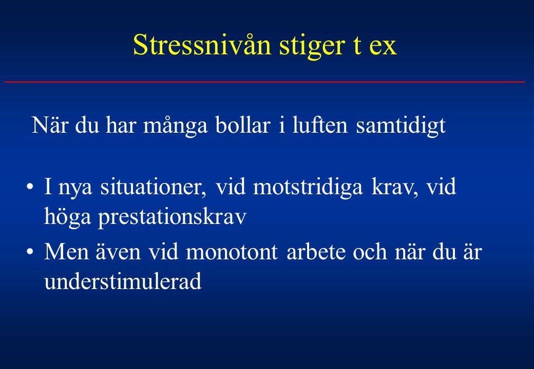 Stressnivån stiger t ex