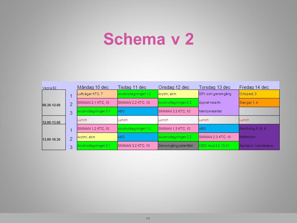 Schema v 2 Måndag 10 dec Tisdag 11 dec Onsdag 12 dec Torsdag 13 dec