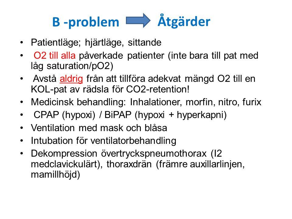 B -problem Åtgärder Patientläge; hjärtläge, sittande