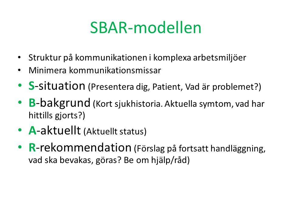SBAR-modellen S-situation (Presentera dig, Patient, Vad är problemet )