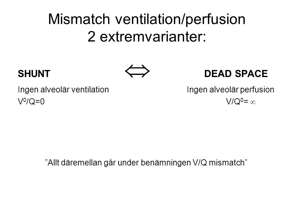 Mismatch ventilation/perfusion 2 extremvarianter: