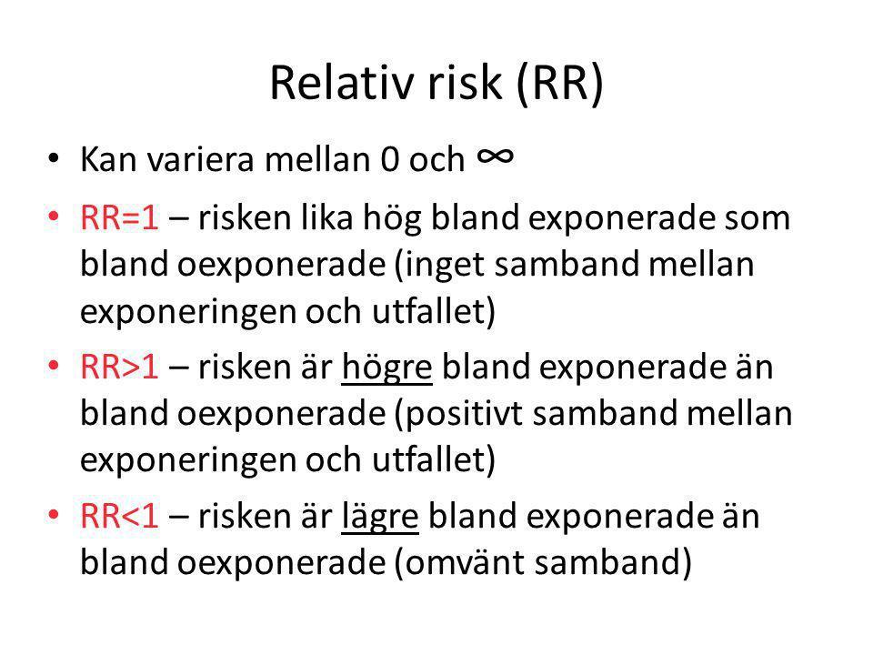 Relativ risk (RR) Kan variera mellan 0 och ∞