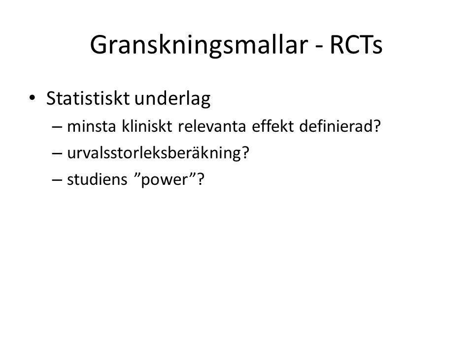 Granskningsmallar - RCTs