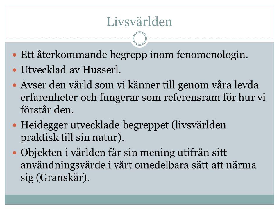 Livsvärlden Ett återkommande begrepp inom fenomenologin.