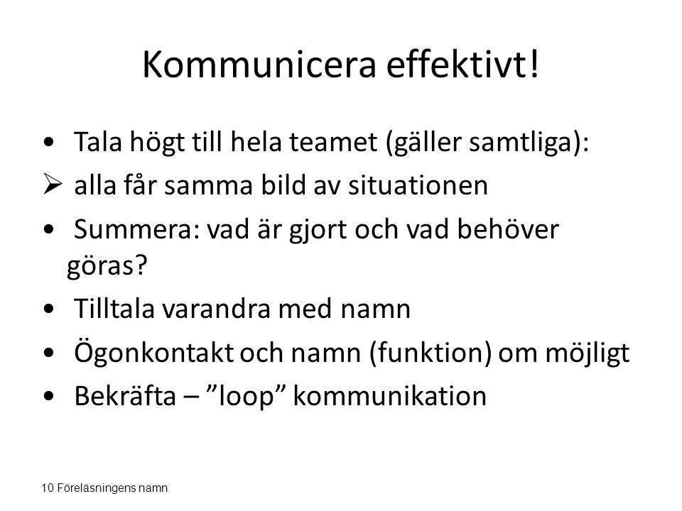 Kommunicera effektivt!