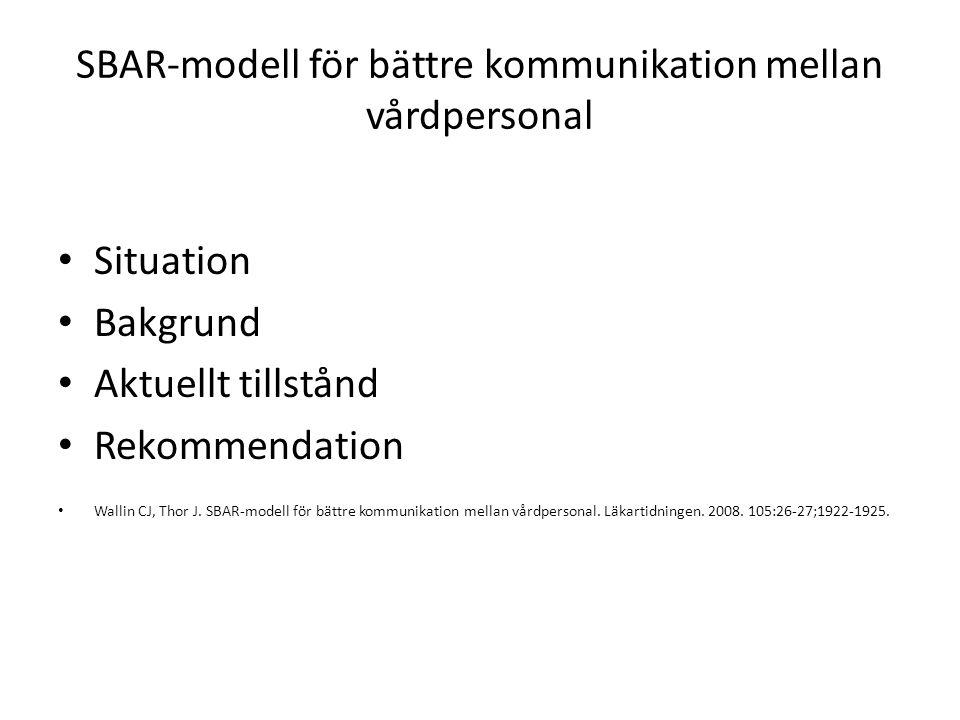 SBAR-modell för bättre kommunikation mellan vårdpersonal