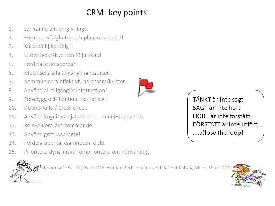 CRM- key points TÄNKT är inte sagt SAGT är inte hört