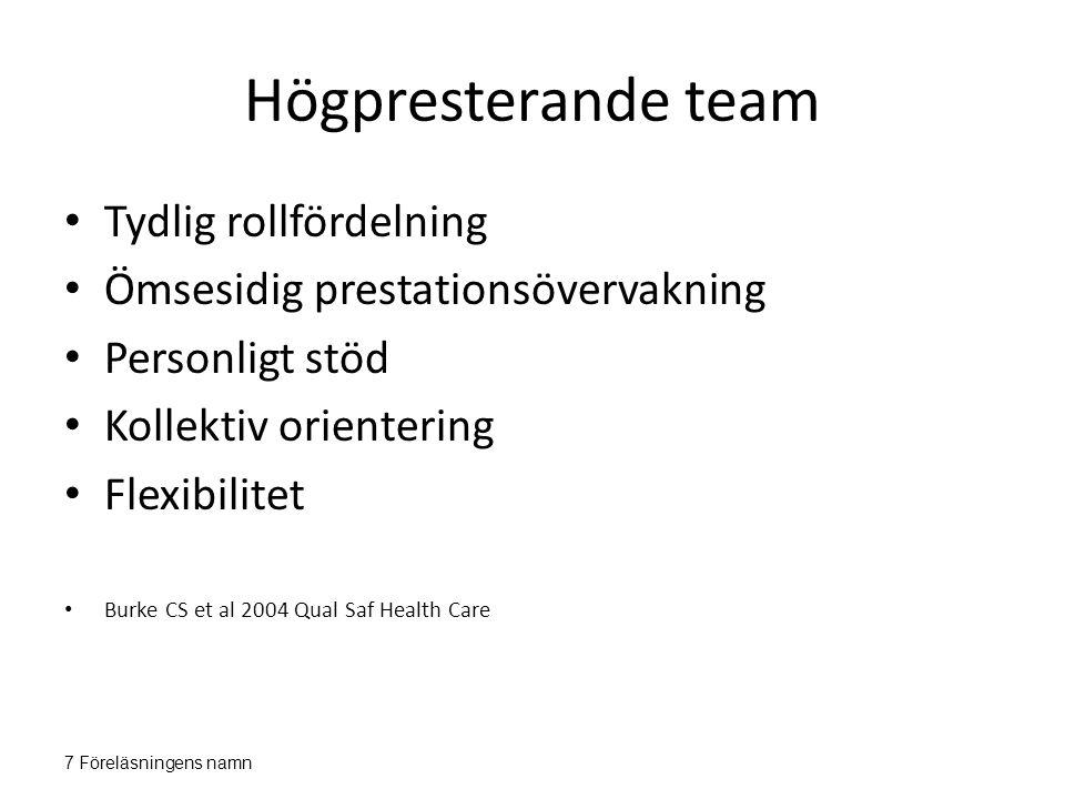 Högpresterande team Tydlig rollfördelning