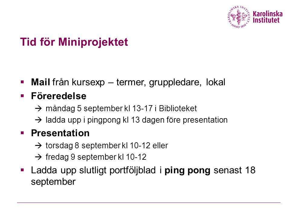 Tid för Miniprojektet Mail från kursexp – termer, gruppledare, lokal