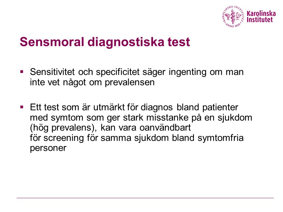 Sensmoral diagnostiska test