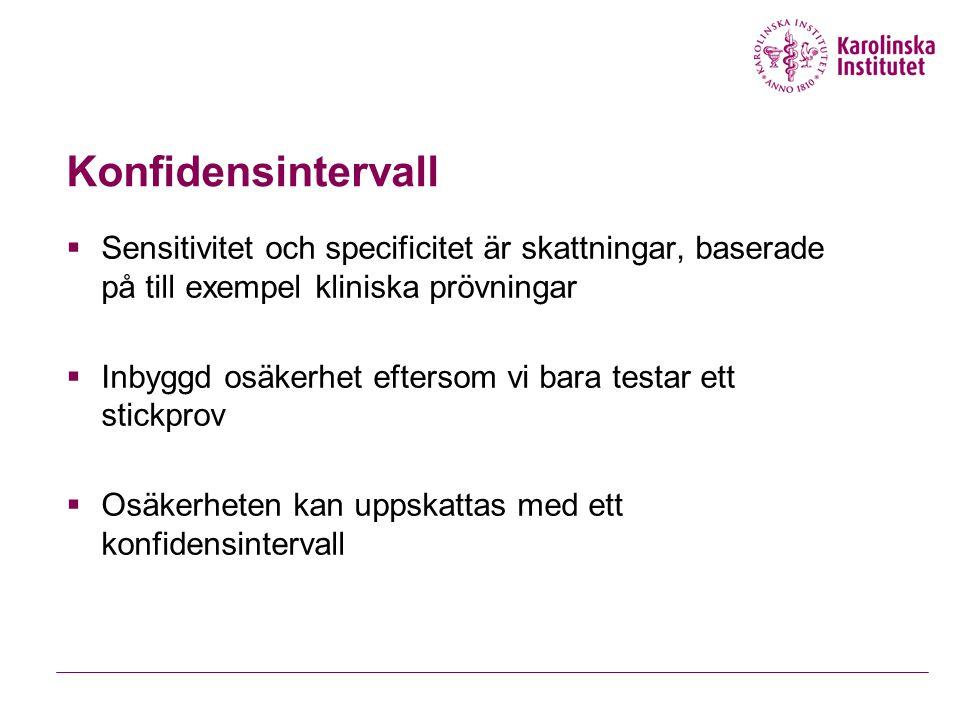 Konfidensintervall Sensitivitet och specificitet är skattningar, baserade på till exempel kliniska prövningar.