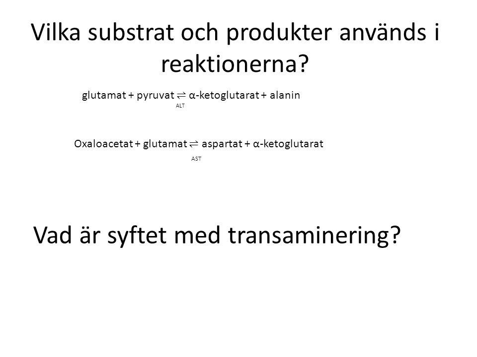 Vilka substrat och produkter används i reaktionerna