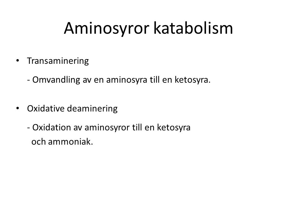 Aminosyror katabolism