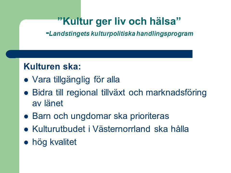 Kultur ger liv och hälsa -Landstingets kulturpolitiska handlingsprogram