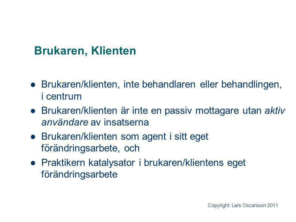 Brukaren, Klienten Brukaren/klienten, inte behandlaren eller behandlingen, i centrum.