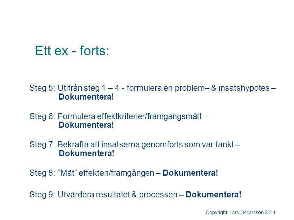 Ett ex - forts: Steg 5: Utifrån steg 1 – 4 - formulera en problem– & insatshypotes – Dokumentera!