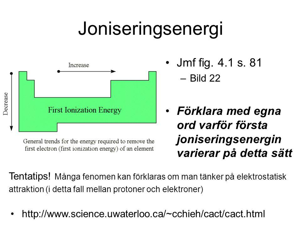 Joniseringsenergi Jmf fig. 4.1 s. 81