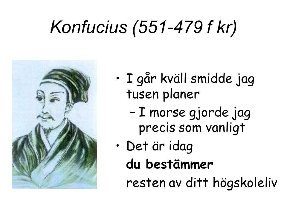 Konfucius (551-479 f kr) I går kväll smidde jag tusen planer
