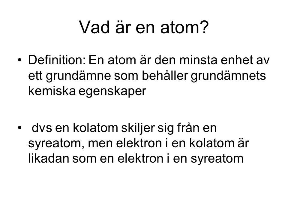 Vad är en atom Definition: En atom är den minsta enhet av ett grundämne som behåller grundämnets kemiska egenskaper.