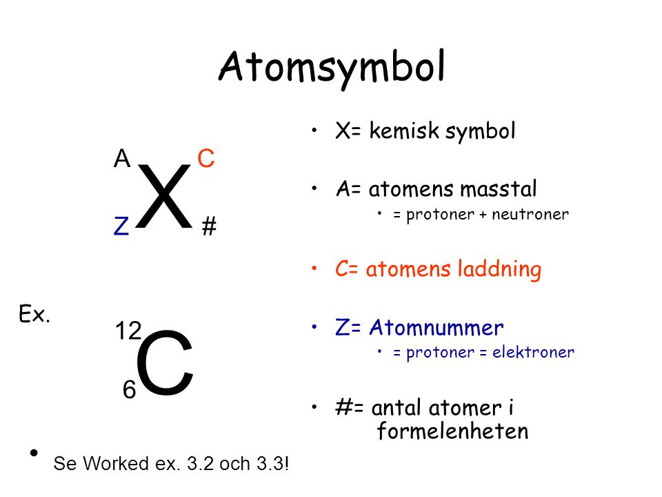 X C Atomsymbol Se Worked ex. 3.2 och 3.3! A C Z # 12 6