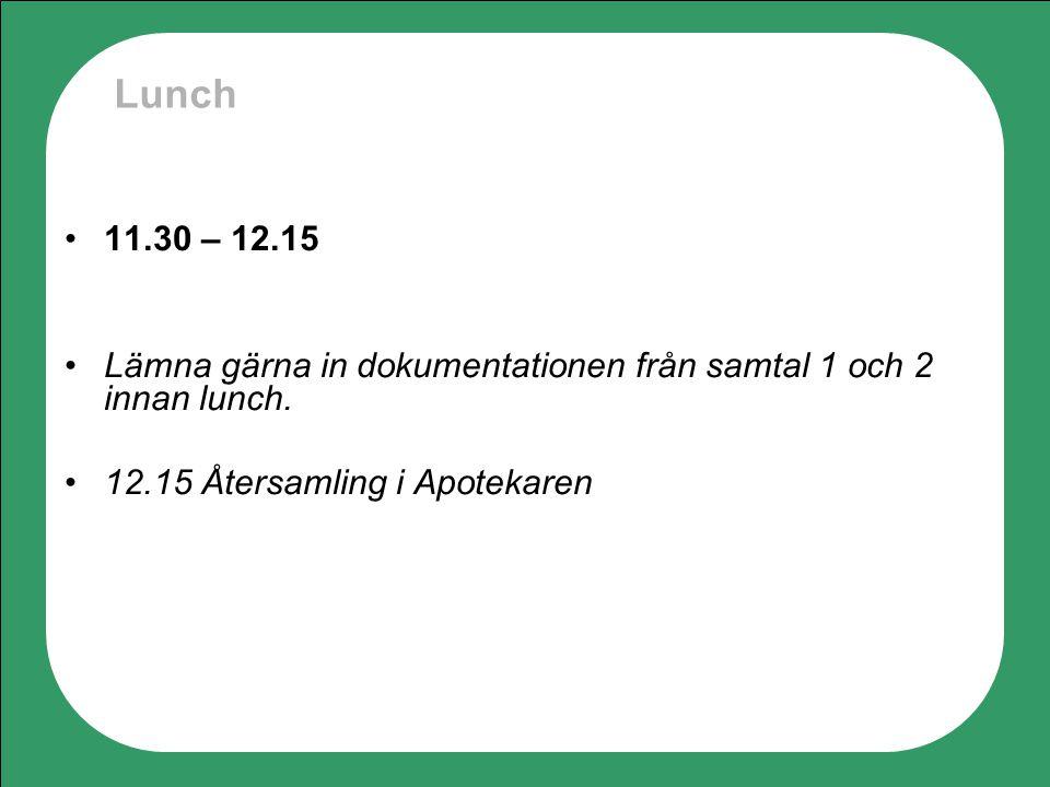 Lunch 11.30 – 12.15. Lämna gärna in dokumentationen från samtal 1 och 2 innan lunch.