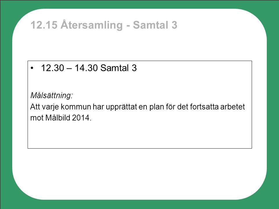 12.15 Återsamling - Samtal 3 12.30 – 14.30 Samtal 3 Målsättning: