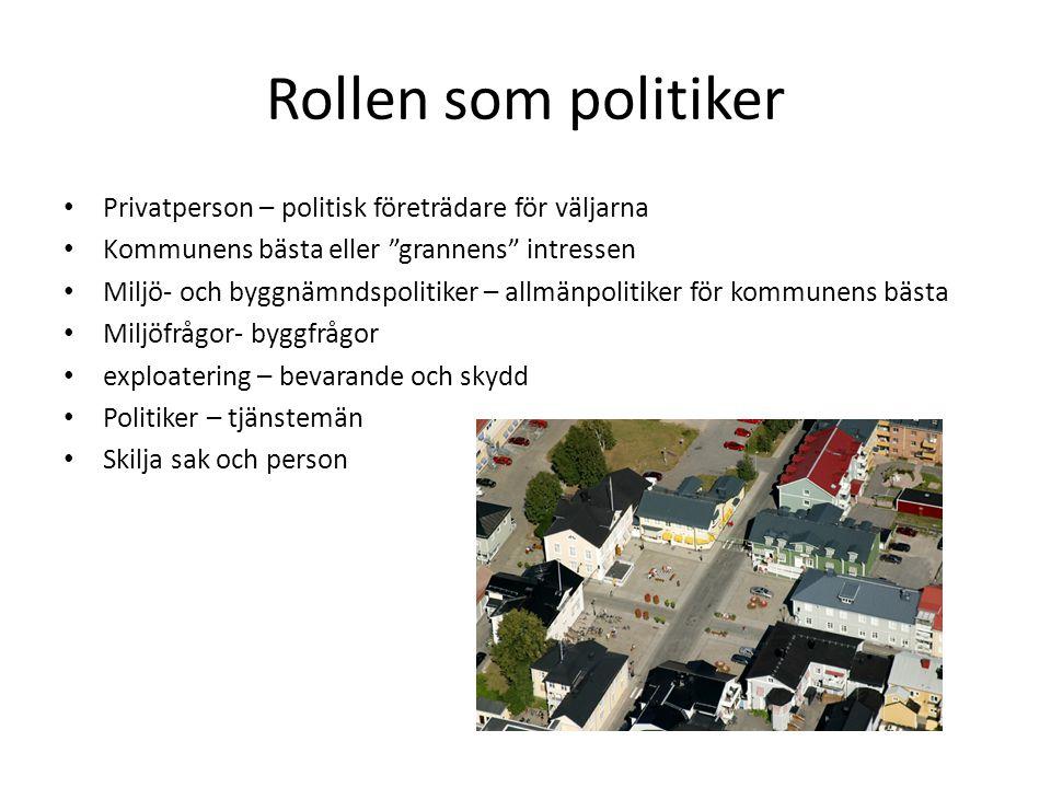Rollen som politiker Privatperson – politisk företrädare för väljarna