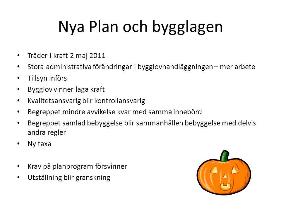 Nya Plan och bygglagen Träder i kraft 2 maj 2011