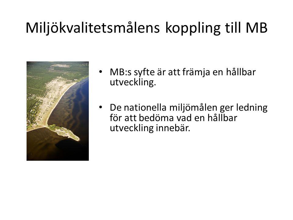 Miljökvalitetsmålens koppling till MB