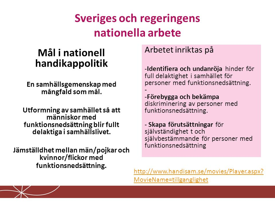 Sveriges och regeringens nationella arbete