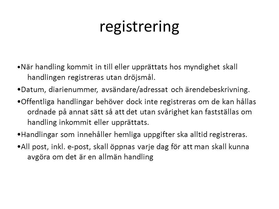 registrering •När handling kommit in till eller upprättats hos myndighet skall handlingen registreras utan dröjsmål.
