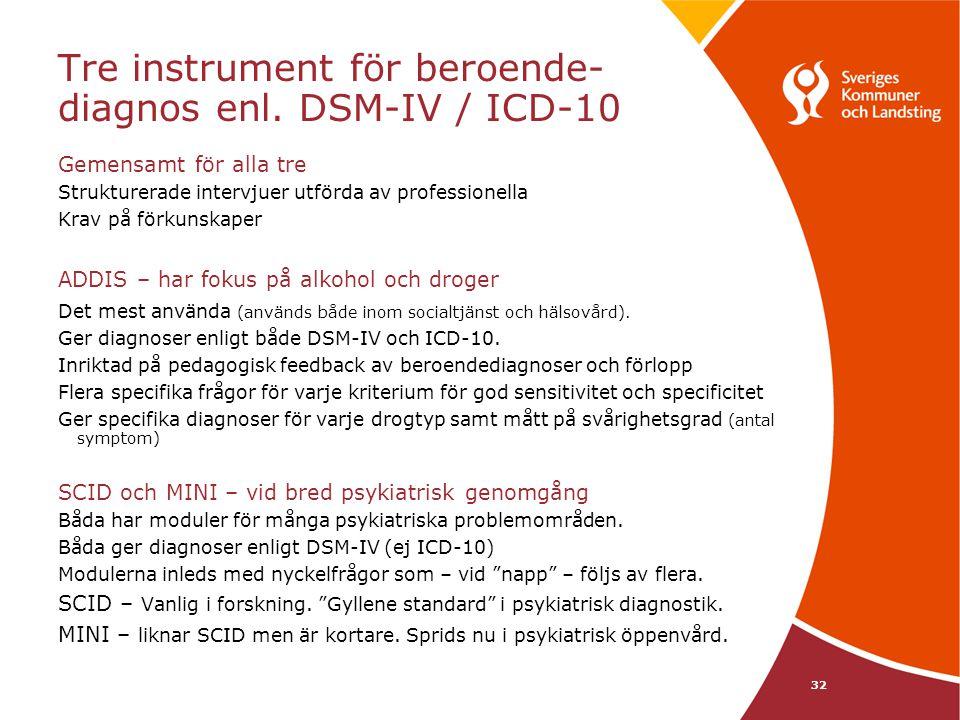 Tre instrument för beroende-diagnos enl. DSM-IV / ICD-10
